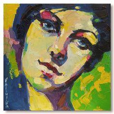 Woman face portrait painting  original oil by ValArtGallery