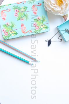 Styled Stock Photo | Flatlay Digital Styled Image | Product Photography | Blue Notebook Pencils Accessories