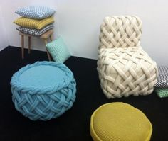 Cute and simple. New stools by Cork knitter Claire Anne O'Brien drew big crowds at Tent London.