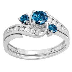 10k White Gold 7/8ct TW Round Blue and White Diamond Swirl Bridal Engagement Ring Set (H-I, I2-I3) (Size
