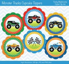 Digital Clipart - Monster Trucks Cupcake Toppers printable for Scrapbooking, Paper crafts, Cards Making, Invitations INSTANT DOWNLOAD         April 26, 2014 at 11:09AM
