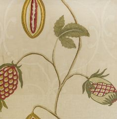 Cocoa Embroidered Fabric Oat Linen fabric incorporating trellis and embroidered seed pod design with Autumn greens and reds.