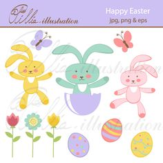 Happy Easter clipart comes with 11 cute Easter related graphics including 3 Easter bunnies, 3 flowers, 3 easter eggs and 2 butterflies.