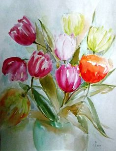 "Saatchi Art Artist Hedwig Pen; Painting, ""My Tulips"" #art"