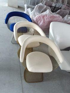 soft fabric upholstered modern platner dining armchair hot sale
