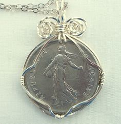 """★★★★★ """"Another one of a kind from this LOVELY seller. I can always find a special gift in her shop to express my proud Irish heritage. This time I purchased something for myself. The craftsmanship in this piece is superb! Packed with care & special touches too! Coin Jewelry, Coin Necklace, French Franc, Celtic Circle, French Coins, Christmas Labels, Tarnished Silver, World Coins, Etsy Vintage"""