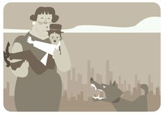 Lady Saves Charlie Chaplin From Dog Vector
