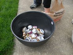 Put crushed soda cans in the bottom of a large pot for drainage and to help keep the pot lighter than filling the whole thing with dirt. (Make sure the holes are facing upside down so they don't fill with water.)