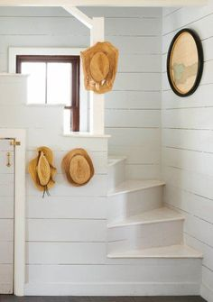 to Restore a Cute Old Beach Cottage in the Bahamas Painted shiplap stairwell in a restored Bahamas beach cottage on Harbour Island. Painted shiplap stairwell in a restored Bahamas beach cottage on Harbour Island. Cottage Shabby Chic, Beach Cottage Style, Beach Cottage Decor, Coastal Cottage, Coastal Homes, Coastal Decor, Coastal Kitchens, Cottage Art, White Cottage