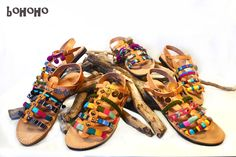 Samples of the Bohoho sandals. Handmade greek bohemian sandals