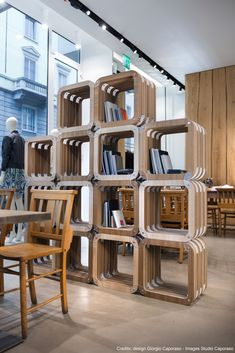 Cardboard Furniture, Cardboard Modular Shelving by Giorgio Caporaso, for Verger Concept Store in Milan #retaildesign