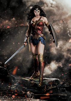 Ahhh … another excuse to show off Gal Gadot in her Wonder Woman costume:) This time GOXIII used the newly announced statue from Batman v Superman to create this beautiful image of the Amazon...