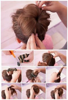 ▷ 1001 + ideas for beautiful and easy little girl hairstyles pink background, easy braid hairstyles, messy bun, done with a sock, long brown hair Frisuren ▷ 1001 + ideas for beautiful and easy little girl hairstyles Easy Little Girl Hairstyles, Braided Hairstyles, Simple Hairstyles, Beautiful Hairstyles, Hairstyle Ideas, Long Brown Hair, Pinterest Hair, Hair Hacks, Hair Lengths