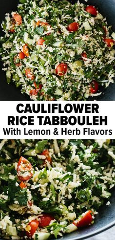This cauliflower tabbouleh puts a keto spin on this classic recipe. It's an easy vegan side dish that's light, healthy, and perfect for summer. #tabbouleh #cauliflowerrecipe #veganrecipe #summerrecipe Vegan Side Dishes, Healthy Dishes, Good Healthy Recipes, Gluten Free Recipes, Keto Recipes, Cauliflower Tabbouleh, Cauliflower Recipes, Cauliflower Rice, Lemon Herb