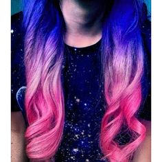 Pink blue and purple ombre hair Hair color, styles cuts found on Polyvore