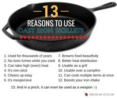 We love all the benefits of cooking and baking with cast iron. And food tastes better with cast iron too! Cast Iron Cooking, Real Cooking, Cooking Tips, Oven Cooking, Cast Iron Skillet, Skillet Meals, Homestead Survival, What You Eat