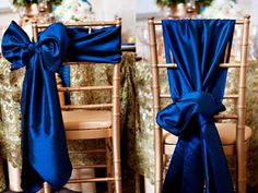 Beautiful Bows on Chiavari Chairs #wedding #tie #bow Royal Blue sashes at www.cvlinens.com