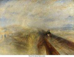 TURNER Pluie, Vapeur et Vitesse – Le Chemin de Fer du Grand Western 1844,  huile sur toile  90.8 x 121.9 cm, côté abstrait, belle palette colorée