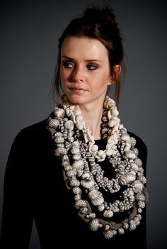 Textiles Jewellery Design - two tone knitted bead necklace // Sally Chown