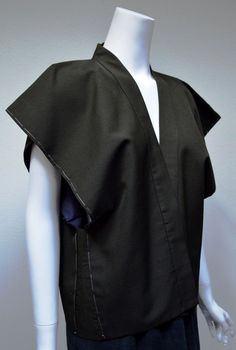 VTG Kimono Vest Brown Black Sz M L Japan Art to Wear  #Japanese #Kimono #Vest Wonderfully versatile traditional Japanese tailoring!