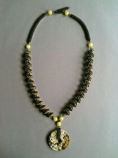 Necklace: Seed Bead Spiral Brown Olive with Large Donut by Jeka Lambert