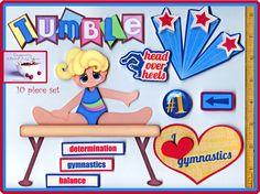 TUMBLING gymnastics girl premade scrapbook pages 10 pc 3D paper piecing ~ CHERRY #BowlFullofCherriesScrabpooking