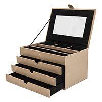 Schmuckkoffer aus Synthetik mit 3 Schubladen, verschiedene Farben