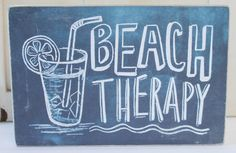 Beach Therapy - Wood Block Chalkboard Sign - Primitives by Kathy from California Seashell Company