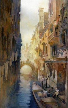 """""""Venice"""" - Aguarela de Thomas W. Schaller"""