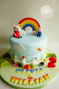 Peppa Pig rainbow birthday cake.