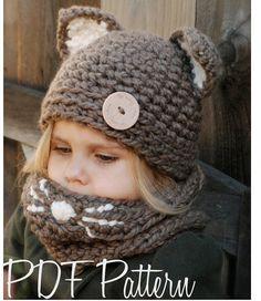Crochet PATTERN-The Camille gato Set (tamaños niño, niño y adulto)