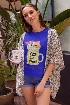 Cat and Coffee Shirt and Mug Coffee Shirt, Shirts, Animal, Cats, How To Wear, Women, Fashion, Round Collar Shirt, Dressing Up