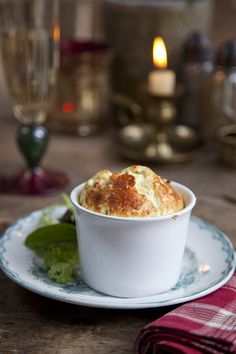 Blue Cheese Souffles- Make ahead Holiday starter course or appetizer that will puff back up when you put them back in the oven when ready to serve.