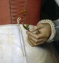 .:. Cronenburch, Adriaen van . Dama con una flor amarilla