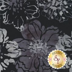 Bali Chop 2639-076 Cliff Rose Pewter By Hoffman Batiks: Bali Chop is a batik collection from Hoffman Fabrics. This fabric features a gray floral on a black background.