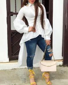 Puff Sleeves Beaded Button Dip Hem Blouse dresses and accessories all over the world at competitive prices, and with a high level of customer care. Trend Fashion, Estilo Fashion, Fashion Pants, Fashion Outfits, Fashion Hoodies, Fashion Ideas, Fashion Fashion, Winter Fashion, Fashion Black