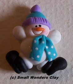 *SNOWMAN ~ Handmade polymer clay Snow Days snowman bead or hairbow center..