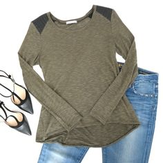 Olive Green Top with Faux Leather A lightweight olive green longsleeve tee with faux leather shoulders. Olivia Moon top purchased at Nordstrom. Rayon/Polyester blend. Hand wash only. Nordstrom Tops Tees - Long Sleeve
