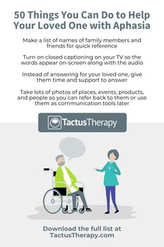 Feel confident you're doing everything you can to help the stroke survivor in your life who is struggling to communicate because of aphasia. Free printable list of 50 tips you can put to use right away. Brain Injury Recovery, Stroke Recovery, Traumatic Brain Injury, Aphasia Therapy, Speech Therapy, Speech Language Pathology, Speech And Language, Communication Techniques