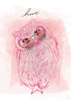 pink owl illustration------- love this Illustrations, Illustration Art, Abstract Animal Art, Owl Always Love You, Beautiful Owl, Pink Owl, Owl Art, Cute Owl, Bird Feathers