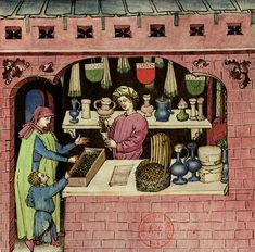 "Bottega di speziale, 1380-1390,  ""Tacuinum Sanitatis"", BNF, Parígi Medieval Market, Medieval Life, Medieval Manuscript, Illuminated Manuscript, Renaissance, Brocade Fabric, Bnf, Saturated Color, 14th Century"