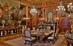"""The elaborately decorated dining room, at the original American Gilded Age mansion - summer """"cottage"""", of Edwin J. Berwind, """"The Elms"""". Located at: 367 Bellevue Avenue, Newport, Rhode Island. Constructed between, c.1899 - c.1901. ~ {cwlyons}"""