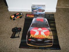NASCAR 1990's DAVY ALLISON #28 Lot Poster Model Kit Havoline RC Car 1/16 WORKS
