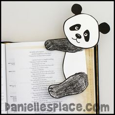 Panda Bear Bookmark - www.daniellesplace.com - Cute Panda Craft for 3 Cheers for Animals Journey. The girls could use it to mark their places in their books.