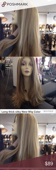Wig blonde mix Long silky straight Lacefront wig Swisslace Lacefront wig heat resistant adjustable cap wig combs inside wear up or down blonde wig thick beautiful Long wig alopecia hairloss ok ship asap check out my closet all New wigs for sale today Accessories Hair Accessories
