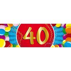40 jaar sticker. Een vrolijk gekleurde sticker met het cijfer 40. Het formaat van deze sticker is 19,6 x 6,5 cm.