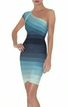 Celebritystyle blue ombre one shoulder bodycon bandage dress