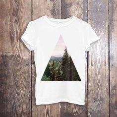 GEOMETRIC Top High Fashion T Shirt, GEOMETRIC Forest T Shirt Women Designer T Shirts White T-Shirt Tee Shirt for Women