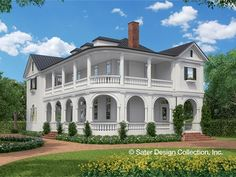 This plan plan is full of Southern charm that immediately brings Charleston or Savannah to mind. With a narrow shape and rear access garage, this plan is perfect for a city or town location. A columned wrap-around upper  and lower verandah flanks the left