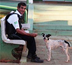 <3 Linda amizade! Parabéns ao Sr. David.Menino ganhou uma nova família. O cachorro, que desde a morte do dono dormia em um carro batido em Mato Grosso do Sul, foi adotado pelo vigilante David Guimar�...